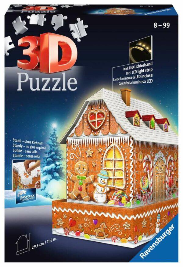 3d Puzzel Gingerbread Huis Nacht