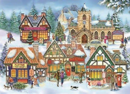 Sneeuw Stad Kerk Winter
