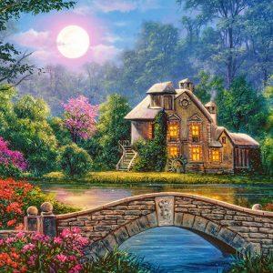 Castorland104208 2 Cottage In The Moon Garden 01 Legpuzzels