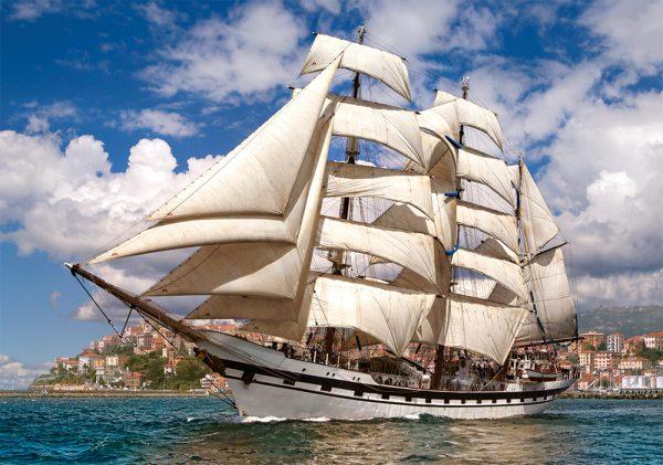 Castorland52851 Tall Ship Leaving Harbour 01 Legpuzzels