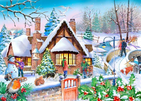 Puzzlestore Snowy Cottage 250xl Stukjes Mc490 1.jpg