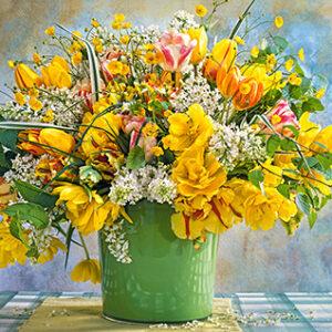 spring flowers in green vase 104567 1 castorland