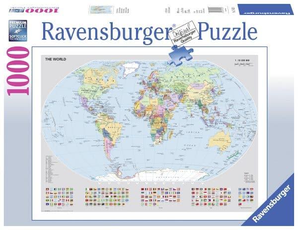 Staatkundige Wereldkaart Ravensburger156528 02 Legpuzzels.nl