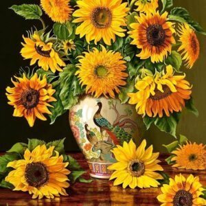 Sunflowers In A Peacock Vase Castorland