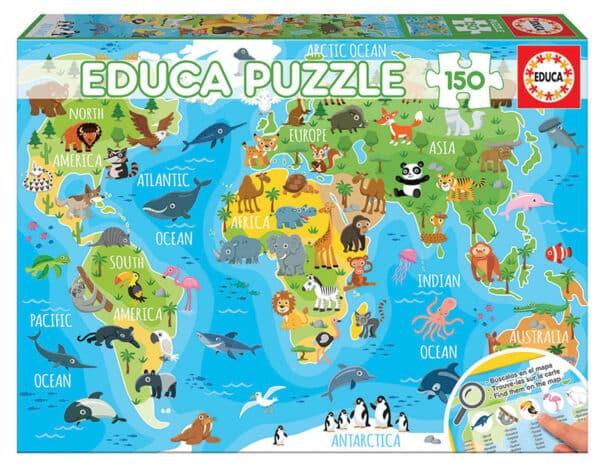 Educa Puzzel Animals World Map