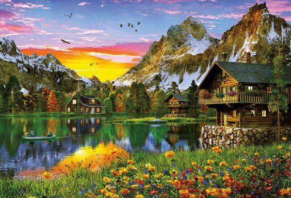 huisjes aan het water bergen