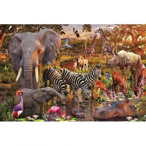 safari olifant zebra nijlpaard giraffe leeuw